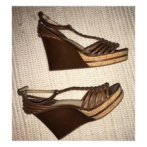 Frye Leather Wedge Heel Sandals Size 8 1/2